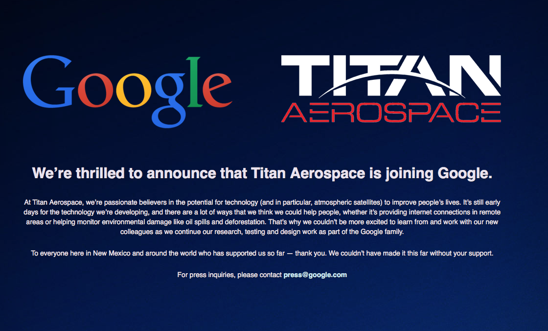 Google übernimmt den Drohnen-Hersteller Titan Aerospace