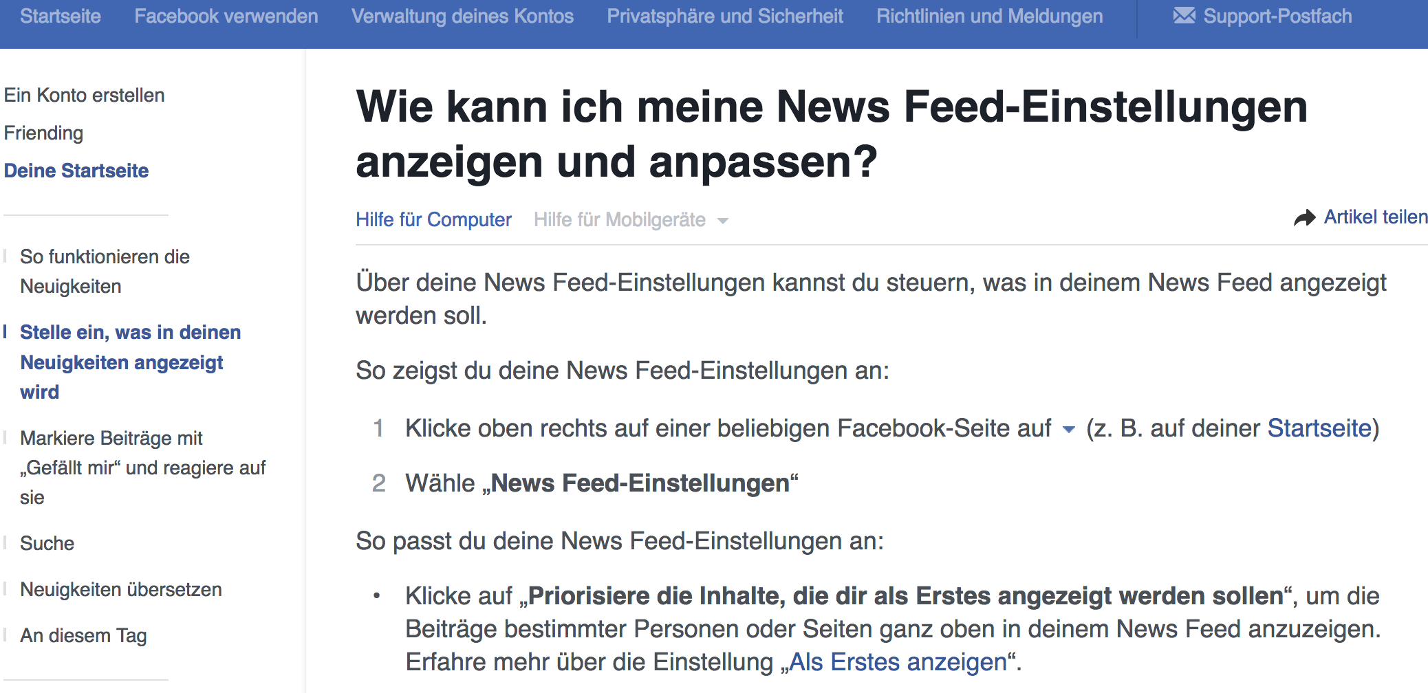 NewsfeedEinstellungen