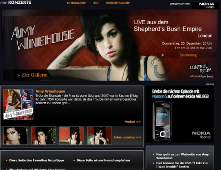 Amy Winehouse Music Special auf MSN
