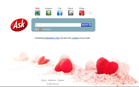 Suchmaschine Ask.com zum Valentinstag 2008