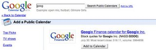 Google Calendar Suche nach seinen favorisierten Aktien
