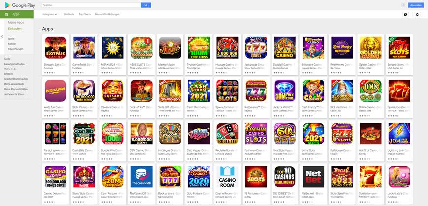 Die Casinospiele im Google Play Store