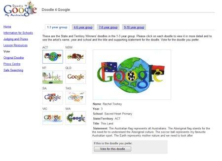 Doodle 4 Google Australia Wettbewerb - Auswahl der Google Doodles in Altersklasse 1 bis 3 Jahre