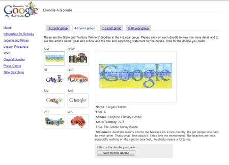 Doodle 4 Google Australia Wettbewerb - Auswahl der Google Doodles in Altersklasse 4 bis 6 Jahre