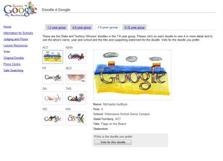 Doodle 4 Google Australia Wettbewerb - Auswahl der Google Doodles in Altersklasse 7 bis 8 Jahre