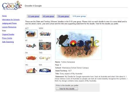 Doodle 4 Google Australia Wettbewerb - Auswahl der Google Doodles in Altersklasse 9 bis 10 Jahre