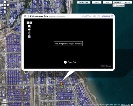 Zensur eines eventuellen Drogendeals in Chicago auf Google Maps