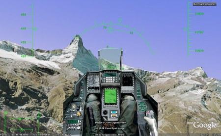 F-16 Cockpit im Flugsimulator von Google Earth
