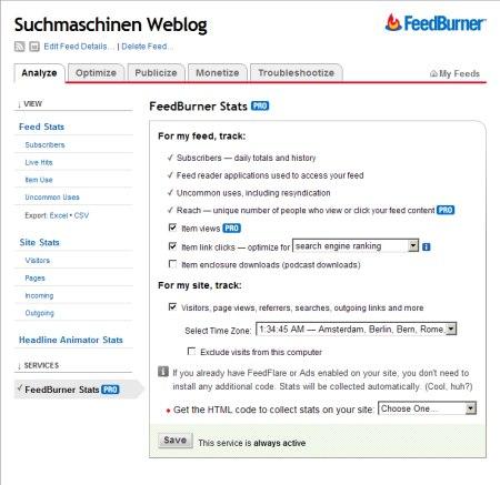 FeedBurner Pro Statistiken kostenlos