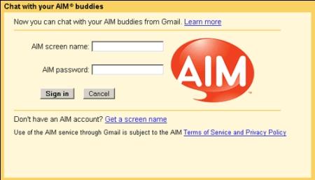 Gmail Chat mit Unterstützung von AOL Instant Messenger