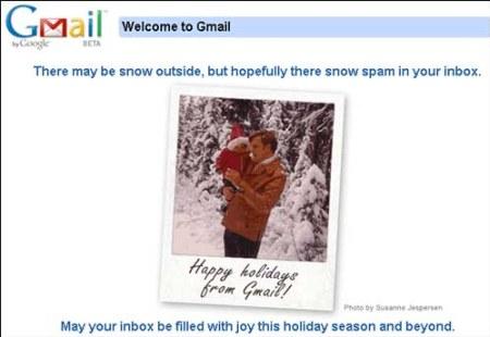 Gmail wünscht Happy Holidays und besinnliche Feiertage