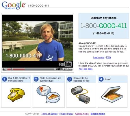 Google Telefonauskunft Goog-411