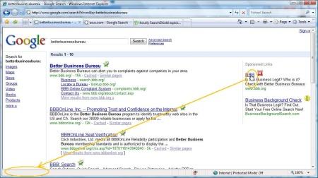 Google Ads zeigt kein Linkziel in der unteren Taskleiste des Browsers an, wenn man über das Bild fährt