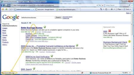 Die korrekte Webseite in der Suchausgabe zeigt in der Statusleiste das korrekte Linkziel an