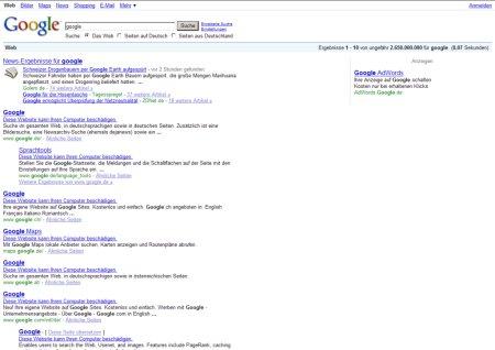 Suche in Google nach Google