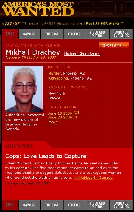 Mörder Mikhail Drachev Steckbrief auf Americas Most Wanted