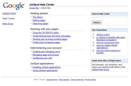 Erste Spuren der Google Wiki auf den JotSpot Support Seiten