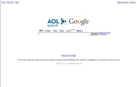 AOL Suche mit Look & Feel von Google