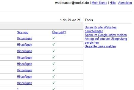 im rechten oberen Eck der Webmaster Tools ist nun ein neuer Link hinzugekommen, welcher auf die Seite zum denunzieren anderer Webseiten Betreiber führt