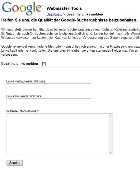 Nach Klick auf den Link kommt man zu einem Formular, wo man Google Hinweise zu Linkverkäufern und deren Käufern geben kann.