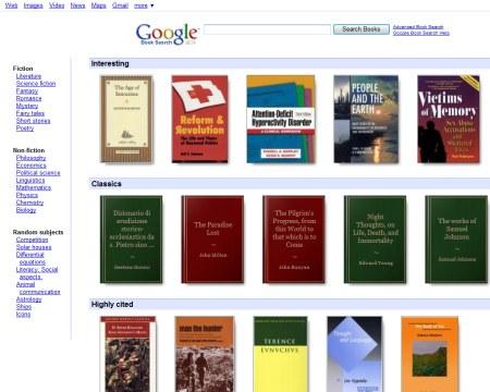 Google Buchsuche Design Tests