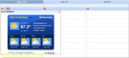 Google Calendar mit eingebundenen Wetter Gadget