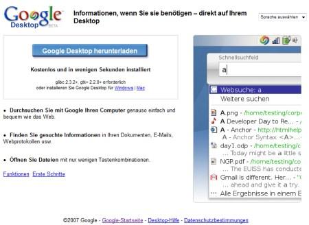 Google Desktop für Linux