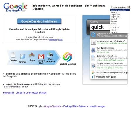 Google Desktop für Mac