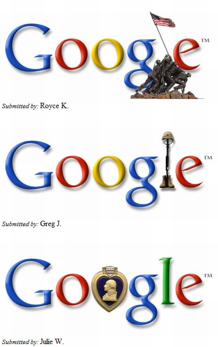 Logos vom Google Memorial Day Logo Contest