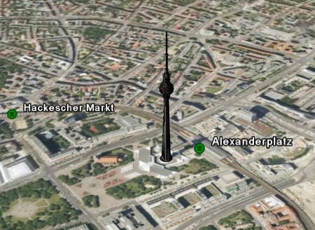 Google Earth Ansicht von Berlin mit Fernsehturm