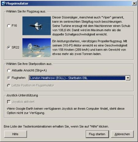 Auswahl der Flugzeugtypen und seine Start Flughafens im Google Earth Flugsimulator