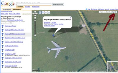 Google Earth Flugzeug bei London Gatwich gesichtet