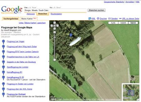 Google Earth Flugzeugkarte mit Standorten von Flugzeug, Zeppelin oder sonstigen Luftfahrzeug Sichtungen