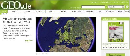 GEO.de offizieller Google Medienpartnern von Google Earth