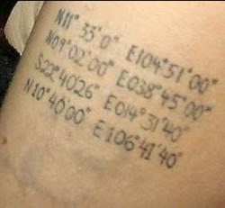 Angelina Jolies Tattoo Google Earth Koordinaten
