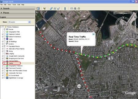 Google Earth zeigt im neuen Layer Verkehrs- und Stauinformationen