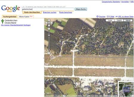 Google Earth Zensur in Deutschland - Militär Flugplatz in Gelsenkirchen