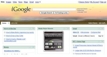 Google Desktop 5.5 with Desktop Gadgets on iGoogle Homepage