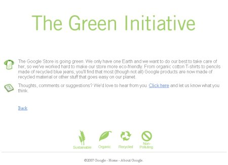 Green Initiative - Google Store mit Symbolen der Green-Initiative