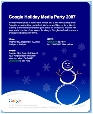 Google Holiday Party 2007 Ticket