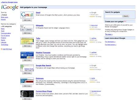 iGoogle Gadget-Verzeichnis