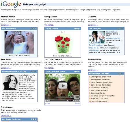 Google iGoogle Gadgets Auswahl