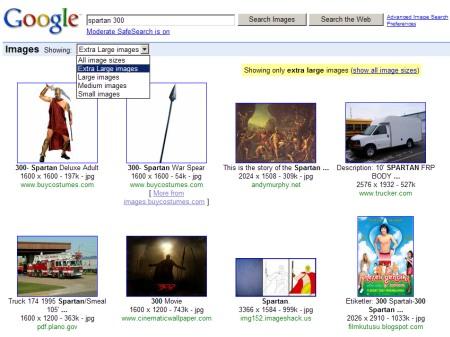 Google Image Suche XXL - Suche nach Images mit Grösse Extra Large