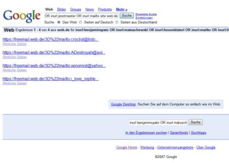 Google Mail-Adressen im Suchindex