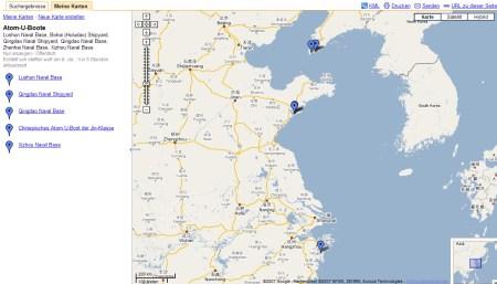 Atom U-Boote in Google Maps