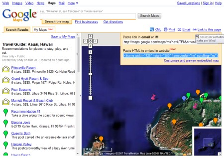 Google Maps Karte zu Hawaii