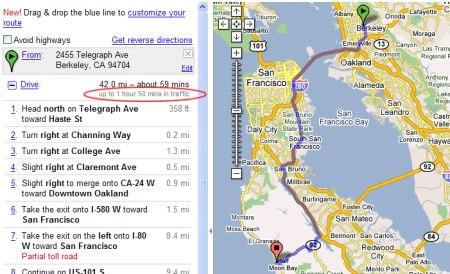 Google Maps Routenplaner mit Fahrzeit Angabe