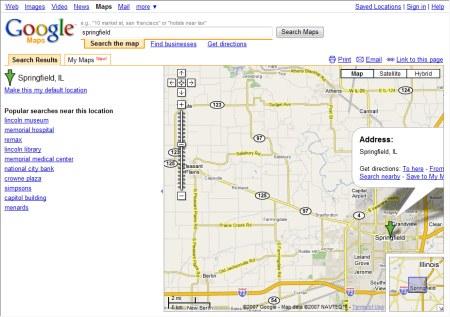Google-Maps Suche nach Springfield
