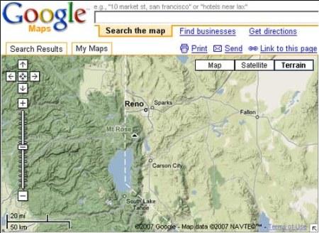 Google Maps: Terrain Ansicht in Google Maps zeigt nun Relief zu gewünschten Zielen an