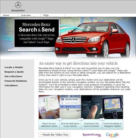 Search & Send - Mercedes Fahrzeuge unterstützen sowohl Google Maps Dienste, ebenso wie Yahoo Local Maps Service